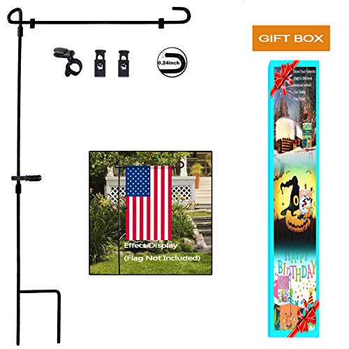 Garden Flag Stand, Premium Garden Flag Pole Holder Metal Wrought Iron Powder-Coated Weather-Proof Paint 36.5