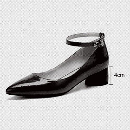 Muma Pompen Medium Hak Enkele Schoenen Dames Schoenen Rode Veter Kleine Schoenen Ondiepe Mond Ruwe Hakken Zwart (kleur: Zwart, Maat: Eu36 / Uk3.5 / Cn35) Zwart
