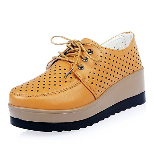 plataforma Zapatos corbata zapatos suela Zapatitos Zapatos de hueco cuñas transpirable de A redonda cabeza con gruesa los de blancos de estrellas xZzz4O