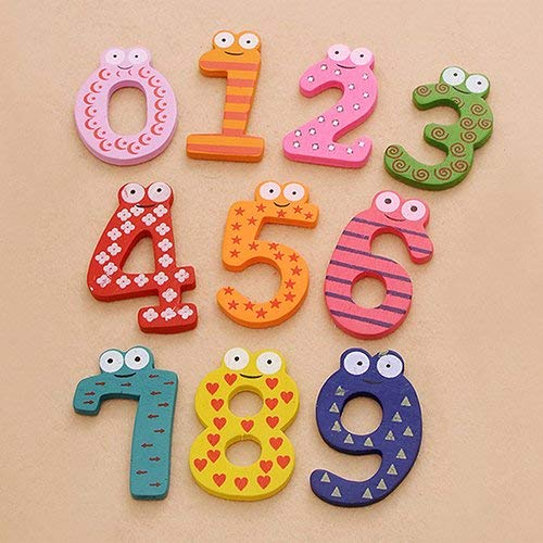 Yevison 10Pcs Cute Wooden Fridge Magnet Number 0-9 Colorful Numbers Refrigerator Stickers Kid Education Fun Toy Symbol Learning Set for Preschool Learning Symbols multicolored Durable and Useful by Yevison