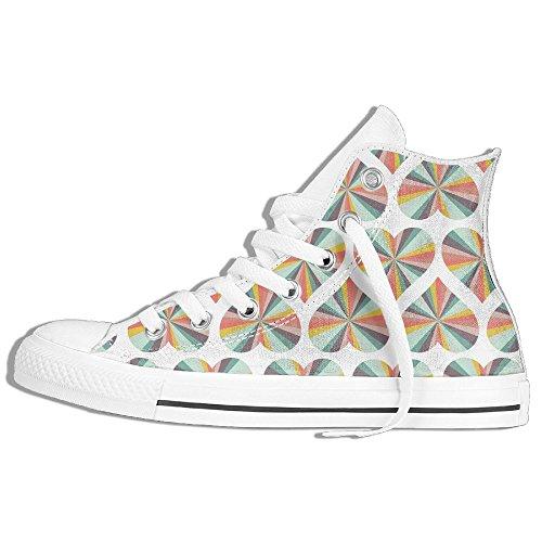 Hearts Prism High Top Zapatos De Lona Clásicos Zapatillas De Moda Blanco