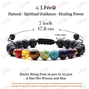 J.Fée Beads Bracelet, Natural 8mm Stone Bracelet for Women Crystal Bracelet for Healing Positivity Anxiety Chakra…