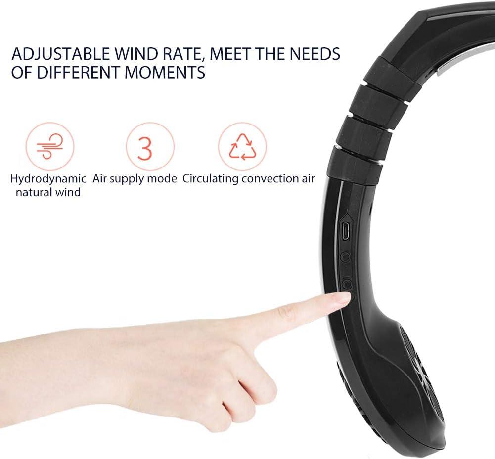Fdit Ventilatore da Collo Portatile USB Ricaricabile Vivavoce Mini Ventilatore Design Auricolare con Doppia Testa a Vento per Ufficio di Viaggio a casa all\'aperto(2#) 1#