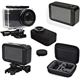 MIJIA Accessories Kit for Xiaomi Mijia 4K Mini Action Camera Kit with Hard storage carry hand bag + Waterproof Housing Case + Frame Shell Cover + Silicone Skin Case Cover + Lens Cap + Protector Film