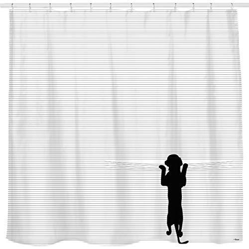Sunlit Cute Black Dog Curious Cartoon Puppy with Black and White Stripes Fabric Shower Curtain for Kids Dog Lovers PVC-Free Bathroom Decor.