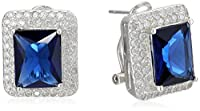 ELYA Jewelry Womens Sterling Silver Radiant-cut Cubic Zirconia Double Halo Drop Earrings, White/Blue, One Size