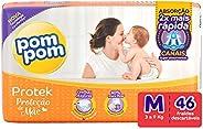 Fralda PomPom Protek Proteção de Mãe, M, Mega, pacote de 46 - Embalagem Pode Variar
