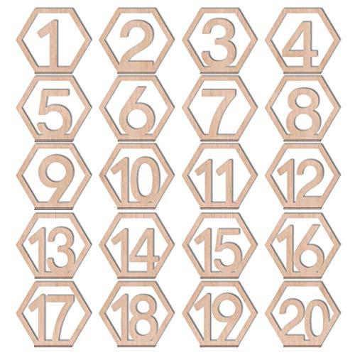 -  1-20 Wooden Table Numbers Card Set for Wedding Party Restaurant Art Table Decor Ornament (20 PCs, Khaki)