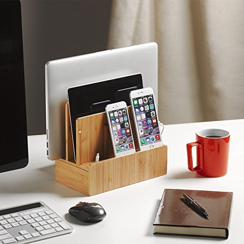 Bamboo Multi Device Charging Station Organizer product image