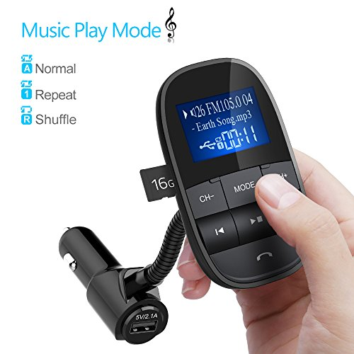ExcLent Bluetooth FM Transmitter Hands-Free Wireless Car Kit Radio Receiver USB Charger W Sleep Power Off Shuffle Support USB Fl BLACK