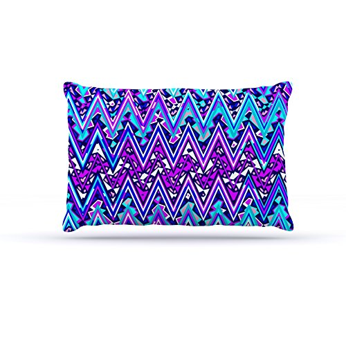 Kess InHouse Nika Martinez bluee Electric Chevron  Fleece Dog Bed, 50 by 60 , Multicolor