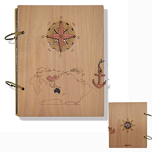 Giftgarden Columbus's Voyage Nautical Photo Album 4x6 Wood Picture Albums Book with 120 - Voyage Frame
