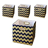 BAIST Cubby Storage Bins,Gold Heavy Duty Canvas Decorative Foldable Storage Cube Bins Basket For Toys Clothes Books School Days Large Square,set of 4,Navy Chevron