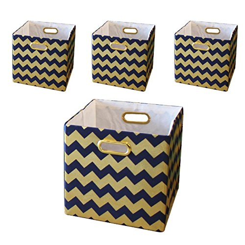 BAIST Cubby Storage Bins,Gold Heavy Duty Canvas Decorative Foldable Storage  Cube Bins Basket For