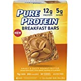 Pure Protein Breakfast Bars, Low Carb, Sweet and Salty Peanut Butter, 1.76 oz, 4 Count