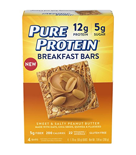 Pure Protein Breakfast Bars, Sweet and Salty Peanut Butter, 1.76 oz, 4 Count