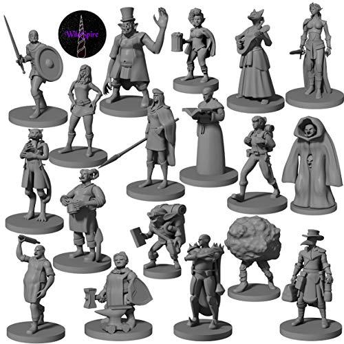 18 DND Miniatures Townsfolk Heroes & NPC | Dungeon and Dragons Miniature Figures | Unpainted D & D Miniatures Dungeon and Dragon 5th Edition Figurines | DND Minis 5e
