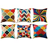 Topfinel Colorful Geometric Cushion Cover Cotton Linen Home Decorative Square for Sofa Throw Pillow Case 18 x 18 Inch, 45cm x 45cm Pop Art Series 6 Pack