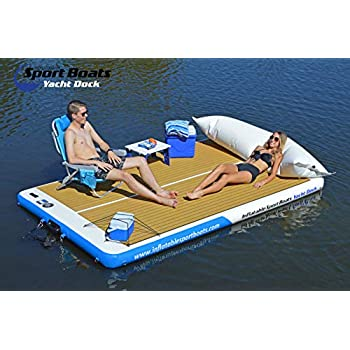 Image of Anchors Inflatable Sport Boats Yacht Dock 10' x 6' x 6 inches Thick Inflatable Floating Platform