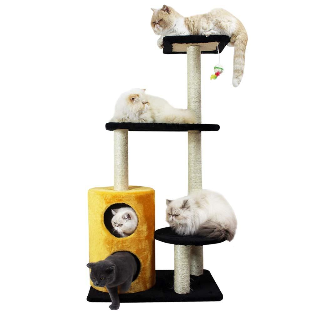 golden Yellow DDSS Cat tower- Four Seasons Cat Tree Double Cat House Fun Cat Tree Cat Jumping Cat Cat Board 5 colors Available  -  (color   golden Yellow)