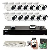 GW Security 16 Channel 4K NVR 5MP IP Camera Network POE Video Security System - 12 x 5.0 Megapixel (2592 x 1920p) Weatherproof Bullet Cameras, Quick QR Code Easy Setup, Pre-Installed 4TB Hard Drive