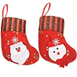 Ivenf Mini 10 Pack Santa Claus and Snowman Classic Christmas Stockings