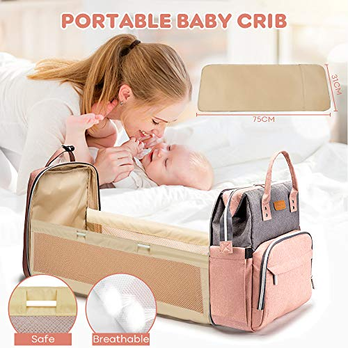 51 B7WDwkOL YOOFOSS Diaper Bag Backpack, Baby Nappy Changing Bags Multifunction Travel Back Pack with Changing Pad & Stroller Straps, Large Capacity, Waterproof and Stylish (Pink)    Product Description