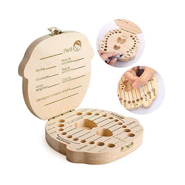 Caja para guardar dientes para niños y niñas, Regalo para niños en madera de souvenir, Acumulación de dientes (Niña) 6