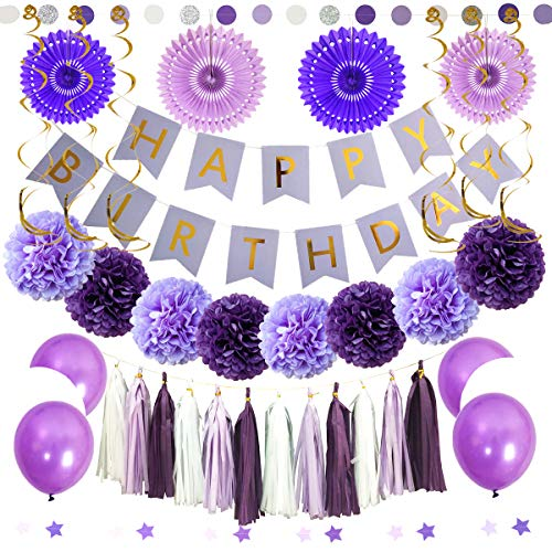InBy Purple and White Birthday Party Decorations Kit - Happy Birthday Banner, Tassel Garland, Paper Fans, Tissue Paper Pom Pom, Balloon, Circle Dot/Star Garland, Hanging Swirls