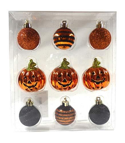 Darice Halloween Jack O Lantern Pumpkin Orange Black Striped Ball Plastic Mini Ornament Set of 9 - Jack O-lantern Wreath