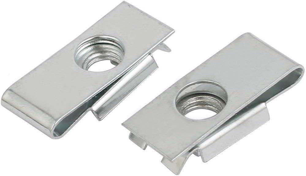 Fit M6 Screw 65Mn Steel Nut U Nut Silver Tone 25mm x 12.5mm 25pcs