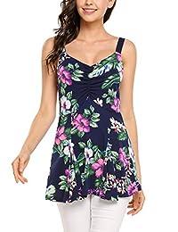 Women Floral Peplum Tops Casual Sleeveless Flared Summer Blouse Tank Tops