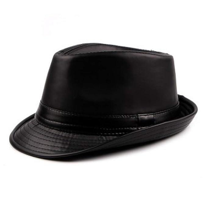 Men s Hat Pu Leather Fedoras Simple Stylish Retro Male Jazz Hats Trendy  Street Dance Dad s Hat f8502fb9af4