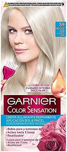 Garnier Color Sensation - Tinte Permanente Rubio Platino Ceniza S9, disponible en más de 20 tonos - Pack de 3