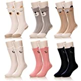 Eocom Kids Girls Boys Cute Animal Casual Knee High Cotton Socks 6 Pairs (0-1 Years, 6 Pairs Cat/Bear)