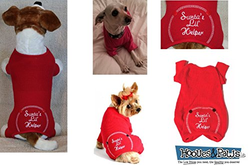 (Mia Michele Medium Red Pajamas Santa's Lil' Helper Embroidered Bottom)
