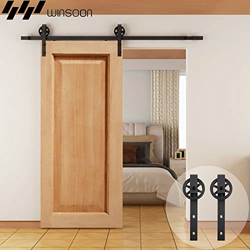WINSOON 5-16FT Single Wood Sliding Barn Door Hardware Basic Black Big Spoke Wheel Roller Kit Garage Closet Carbon Steel Flat Track System (9FT)