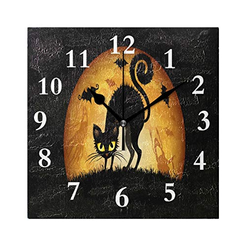 FunnyCustom Square Wall Clock Halloween Cartoon Cat Wallpaper 7.8 Inch Creative Decorative for Living Room/Kitchen/Bedroom -