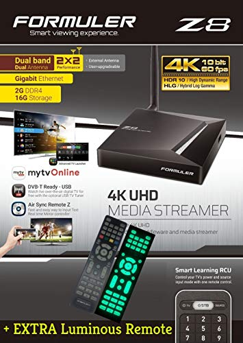 FORMULER Z8 Android Dual Band 5G Gigabit LAN 2GB RAM 16GB ROM 4K + Extra Luminous Remote + Free 3 in 1 Charger (Best Android Media Streamer)
