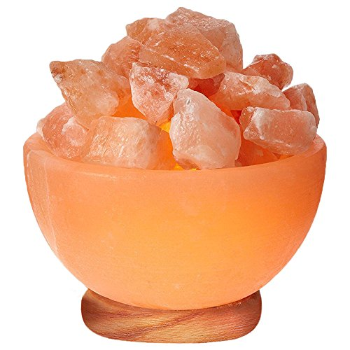 WBM 6-1/2 -Inch Wide Hand Carved Himalayan Crystal Salt Lamp Bowl Filled with Crystal Salt Chunks by Himalayan Glow