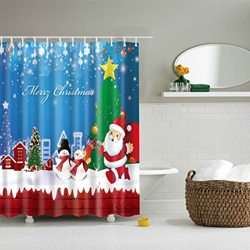 Merry Christmas Fabric (Merry Christmas Fabric Xmas Shower Curtain with Santa Claus Snowman Mildew Resistant Waterproof Machine Washable 72 X 72 inch with 12 Steel Hooks)