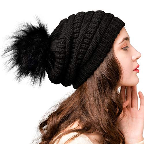 FURTALK Womens Winter Knit Slouchy Beanie Hat Warm Skull Ski Cap Faux Fur Pom Pom Hats for Women Black
