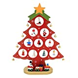 VANKER 1 PC DIY Cute Cartoon Wooden Christmas Tree Decoration Gift Handmade Table Ornament(Red)