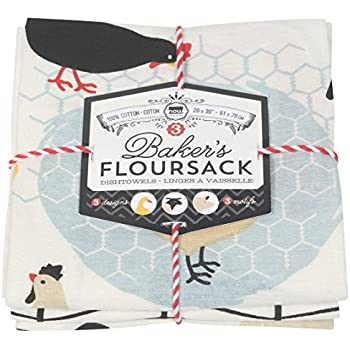 Now Designs Baker's Floursack Kitchen Dish Towels, Farm to Table, Set of 3
