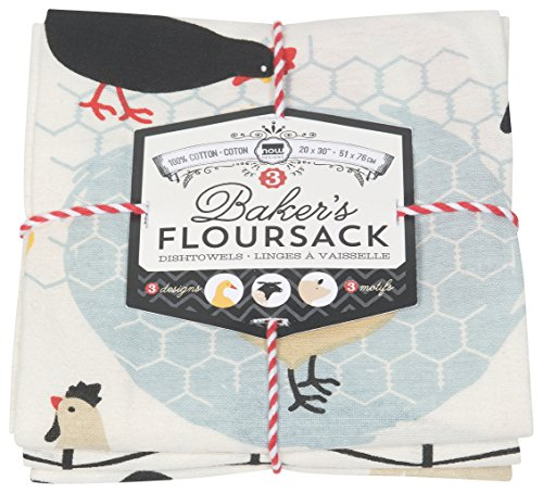 Now Designs Printed Baker's Floursack Kitchen Towels, Set of Three, Farm to Table, 3 Piece 3 Piece Kitchen Tea Towel