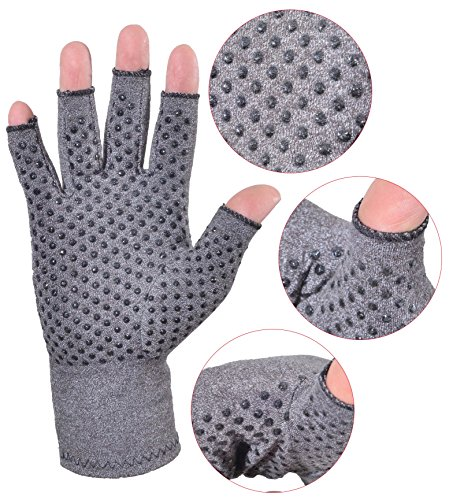 Woogwin Arthritis Compression Gloves - Open Gloves for Relief of Rheumatoid & Osteoarthritis Joint Pain, Fingerlss Hand Non-Slip Gloves for Typing Computer and Daily Work for Men & Women (Gray, L) by woogwin (Image #4)