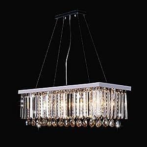 MGCHD Rectangular Restaurant Chandeliers Led Crystal Lamps A+ ( Size : 8025cm warm light chrome wheel )