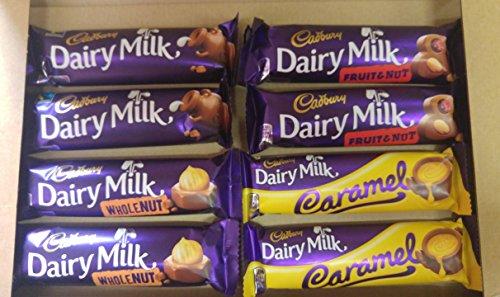 Cadbury Selection Pack - Cadbury Dairy Milk Selection - 8 Bars (2x Dairy Milk, Fruit & Nut, Whole Nut & Caramel)
