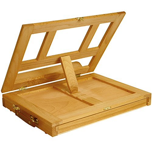 U.S. Art Supply Solana Adjustable Wood Desk Table Easel with Storage Drawer, Paint Palette, Premium Beechwood - Portable Wooden Artist Desktop, Board for Canvas, Painting, Drawing Sketching Book Stand by US Art Supply (Image #3)