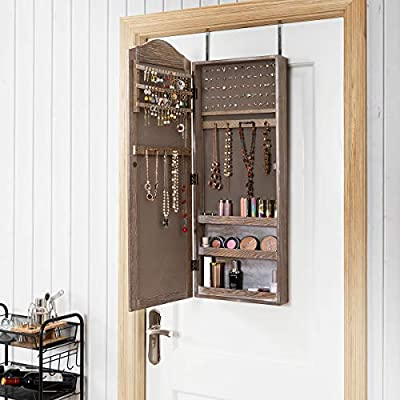 Amazon Com Giantex Jewelry Armoire Cabinet Wall Door Mounted With Mirror Rustic Full Length Mirrored Storage Jewelry Organizer With Hooks Ring Earring Slots Bedroom Armoires Jewelry Cabinets Natural Wood Home Kitchen